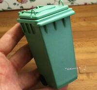 Dollhouse Miniature 1:12 Toy Outdoor Wooden Green Trash Can Height 9cm SPO431