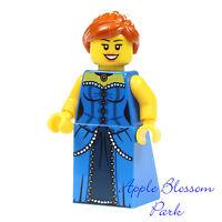 NEW Lego FEMALE MINIFIG Castle Princess w/Blue Torso Dress Long Orange Girl Hair