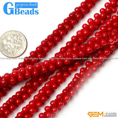 Red Gemstone Coral Jewelry Making Spacer Stone Loose Beads Strand 15""