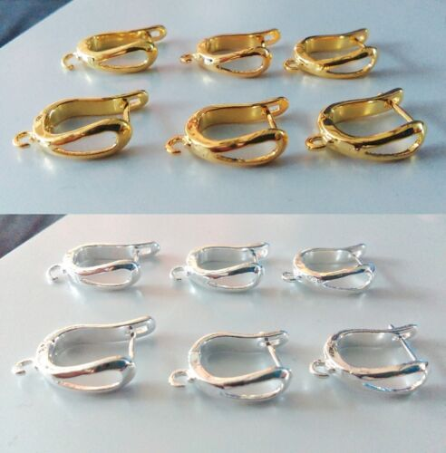 Silver 19x12x5 mm Jewellery Making 5 pairs Brass Hoop Earrings Components Gold