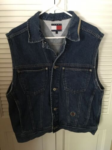 Vintage Tommy Hilfiger Blue Denim Jeans Vest Butto