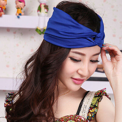 Women's Cotton Turban Twist Head Knot Headband Wrap Twisted Knotted Hair Band
