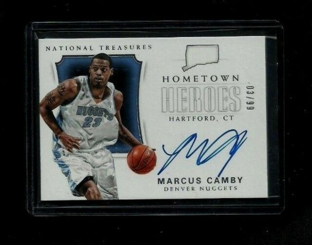 Marcus Camby National Treasures HOMETOWN HEROES Auto #/99! NUGGETS Knicks UMASS