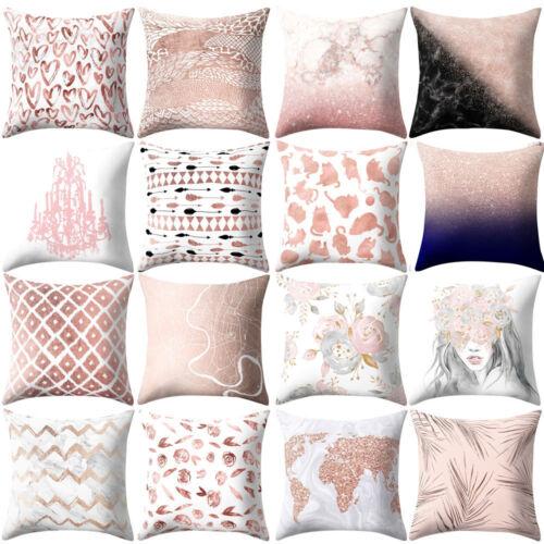 Cushion Cover Rose Gold Pink Square Pillowcase Sofa Car Waist Home Decoration