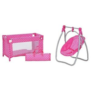 New-Roleplayset-Baby-s-To-Love-Doll-Sleep-Travel-Cot-High-Chair-Swing-Toy-Gift