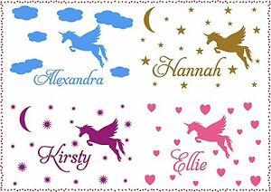 Personalised-Name-Unicorn-Star-Cloud-Heart-Sticker-Vinyl-Decals-Wall-Art