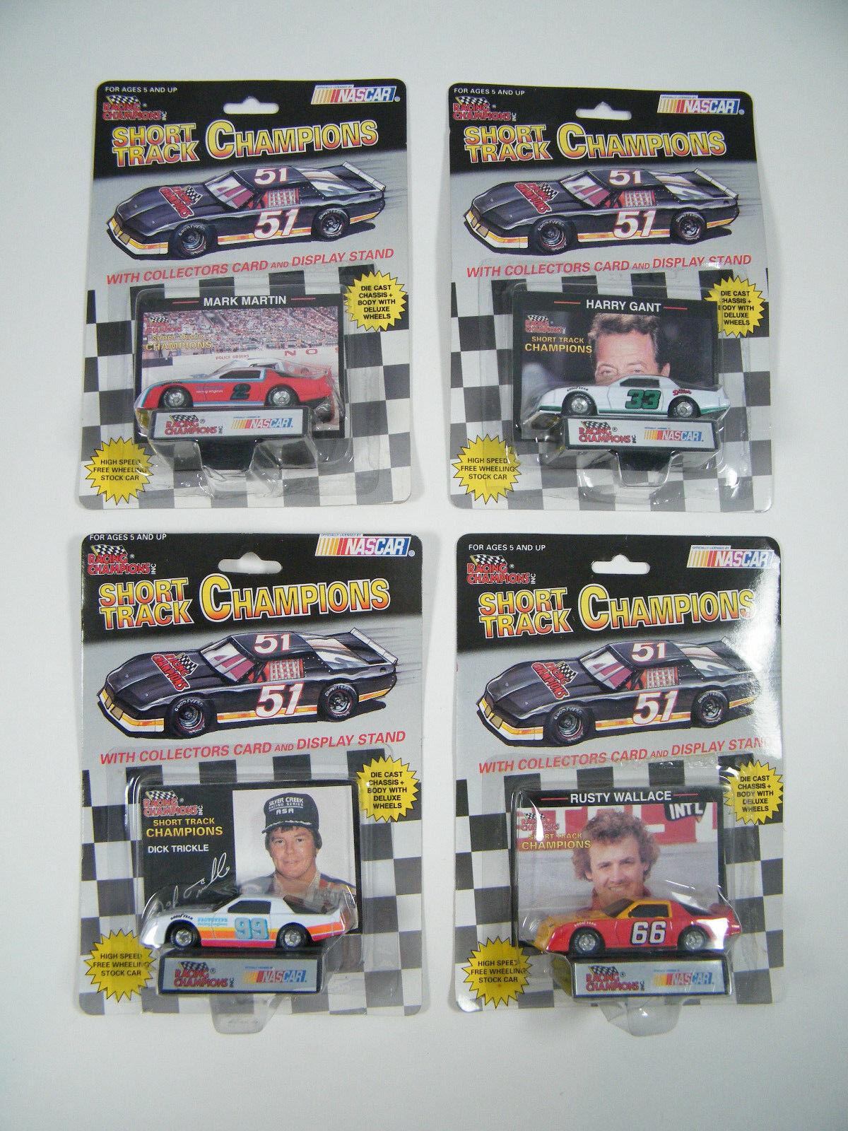 (4) nueva en paquete pista corta NasCoche Racing Champions-Wallace, GANT, Martin, goteo
