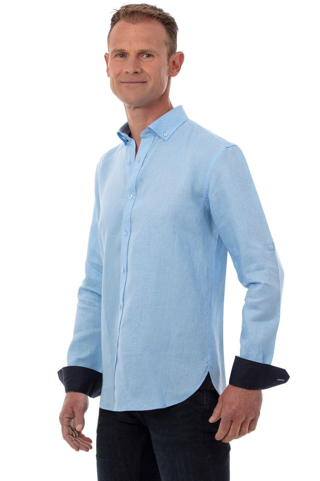 Ugholin Herren Langarm Leinen Freizeithemd Button-Down-Kragen Blau