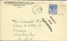 Malaya STRAITS SETTLEMENTS SG#285(single frank) SINGAPORE 1/FEB/1940 WWII CENSOR