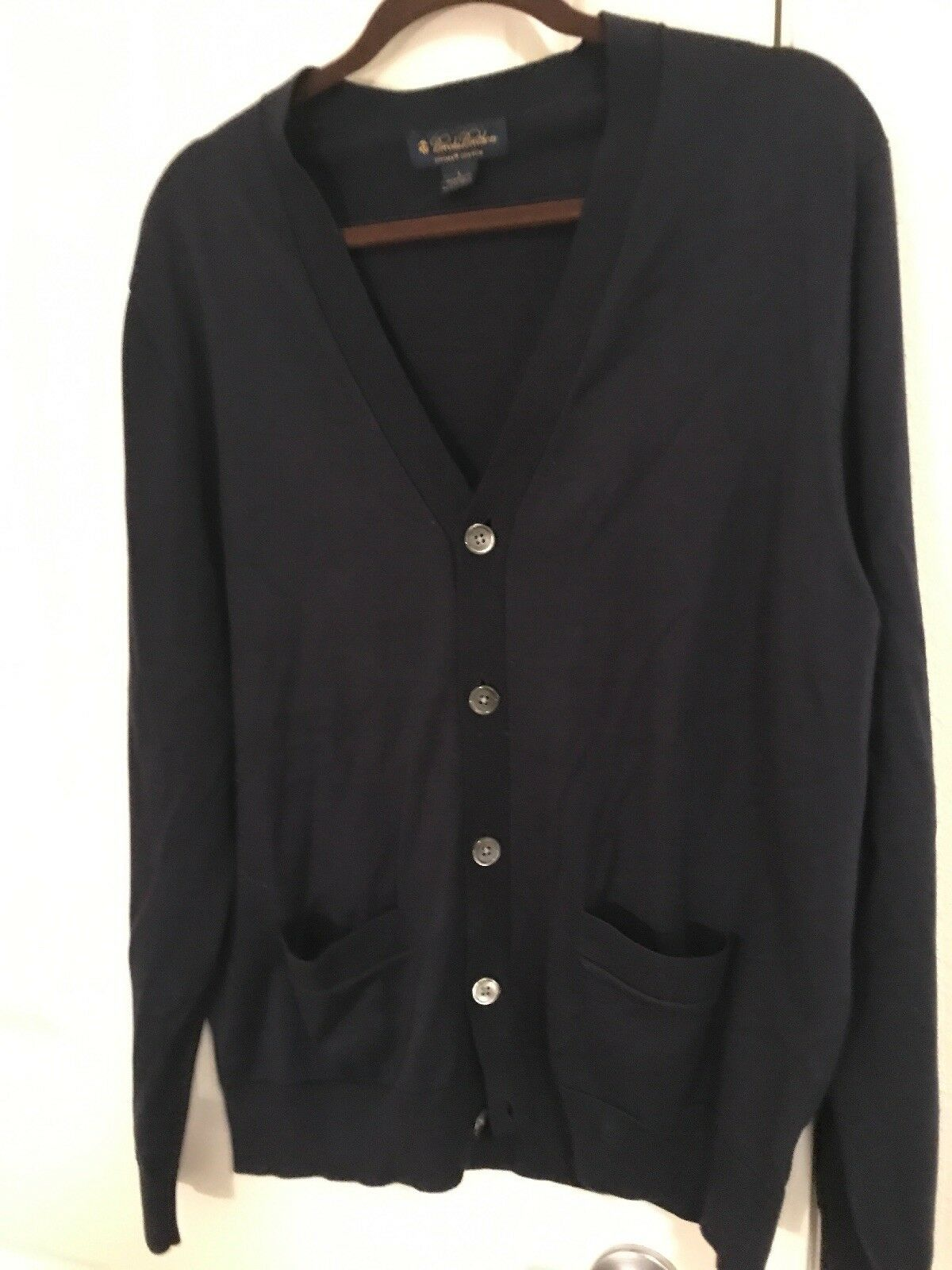 Brooks Bredhers Navy Cardigan Button Front Sweater sz L Supima Cotton TS8