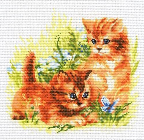 Counted Cross Stitch Kit Needlework Two Kitty Pussycat 20*28cm