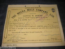 India 1940's The Megna Mills Company Limited Share Certificate # Fb012