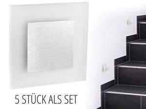 5-Stueck-LED-Wandeinbauleuchte-APUS-AC-1-3W-230V-Edelstahl-IP20-warm-weiss