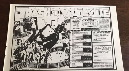 1984 VINTAGE 8X5 PRINT Ad TRASH/&VAUDEVILLE ROCK N ROLL CLOTHES STORE NY ST MARKS