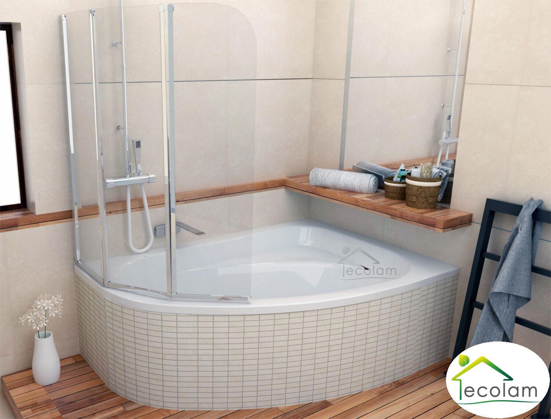 Badewanne + Badewannenabtrennung Duschwand Wanne 140 x 80 Wannenträger rechts