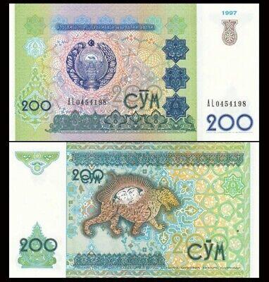 200 Som 1997 Banknote Note UZBEKISTAN P 80 P80 UNC