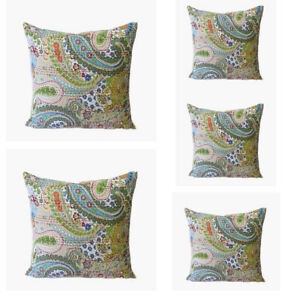 "100/% Cotton Handmade Indian Paisley Print 16X16/"" Kantha Sofa Cushion Cover Set-5"