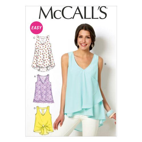 McCall/'s 6960 fácil patrón de costura para hacer Stretch Tops /& túnicas