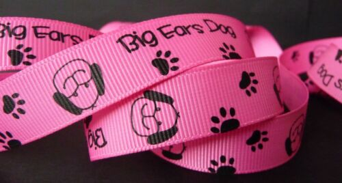 5//8 inch PUPPY Dog paw print canine K-9 pet hot pink grosgrain RIBBON 1 yard