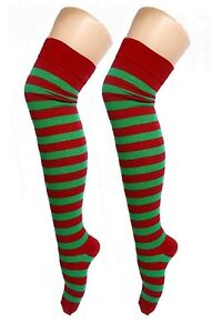 Ladies-Sexy-Red-and-Green-ELF-OTK-Striped-Christmas-Socks