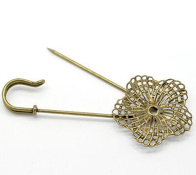 Großverkauf Bronzefarben Blume Schmucknadeln Brosche 8.3x3.4cm