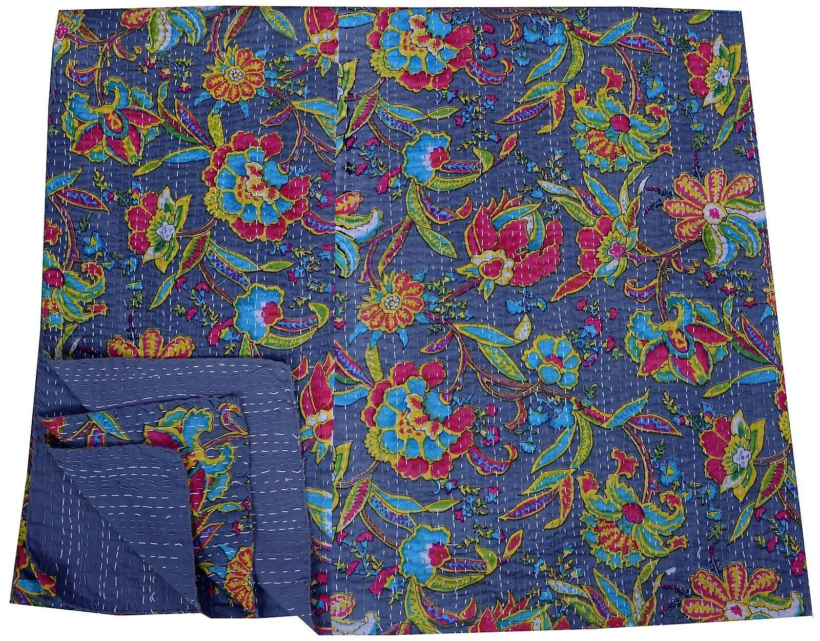 grau Floral kantha Quilt Indian Cotton Bedspread Handmade Reversible Blanket Art