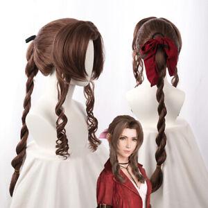Final Fantasy VII FF7 Aerith Gainsborough Cosplay Long Brown Hair Braid Wig Cap