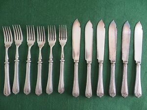 Pinder Brothers Sheffield Set of 12x Alpin Fish Knives and forks - <span itemprop='availableAtOrFrom'>West Sussex, United Kingdom</span> - Pinder Brothers Sheffield Set of 12x Alpin Fish Knives and forks - West Sussex, United Kingdom