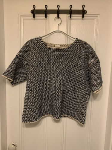 Babaa Short Sleeve T Shirt Sweater Navy White Knit