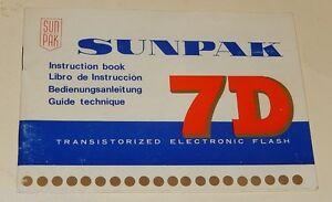 Notice-d-039-emploi-FLASH-Electronique-SUNPAK-7D-Transistorized-Electronic-Flash