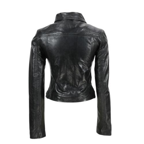 style cuir et vintage classique véritable motard noir Veste souple en femme Brando pour gq6wWRH