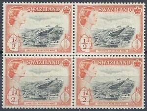 Swaziland-1956-Sc-55-Asbestos-mine-Havelock-Elizabeth-GB-colony-block-4-MNH