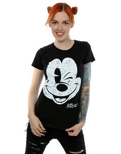 Detalles de Disney mujer Mickey Mouse Distressed Face Camiseta