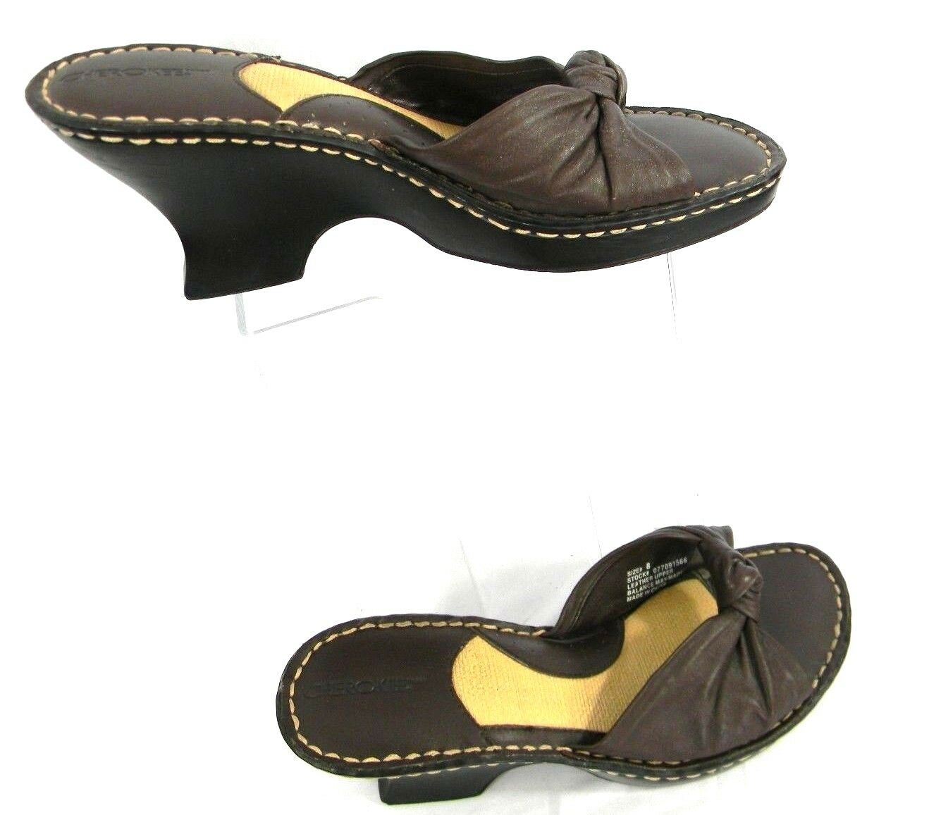 Cherokee 8 Sandals Sandals Brown Leather Wedge Heels Slip-On Womens Sandals 8 Size 8 Shoes 130053