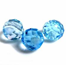NATURAL SKY BLUE TOPAZ LOOSE GEMSTONES (3 pieces) DRILLED ROUND FANCY CUT