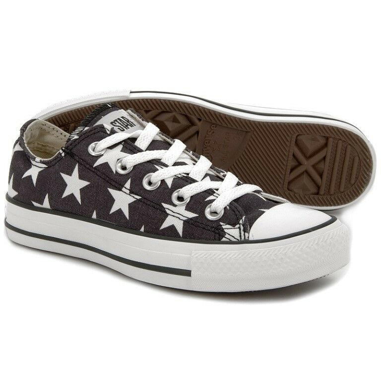 Converse Chuck Taylor UK 9 Black & White 136613C Star Print Canvas New Trainers