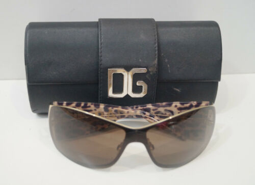 DOLCE & GABBANA DG2019 Brown Lens Leopard Print Wide Arms Sunglasses With Case