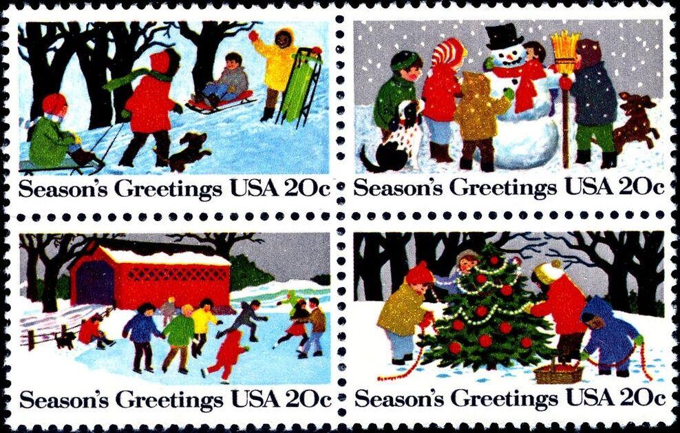 1982 20c Winter Scenes, Block of 4 Scott 2027-30 Mint F