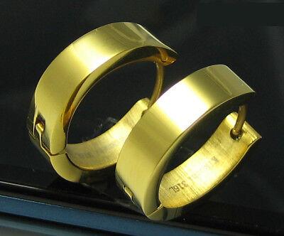GemäßIgt Edelstahl Creolen Herren Damen Ohrringe 24k Gold Ip Hochglänzend 18mm