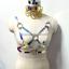 1SetHandmade Holographic Choker+Star Pentagram Harness Belt Rainbow Laser Collar