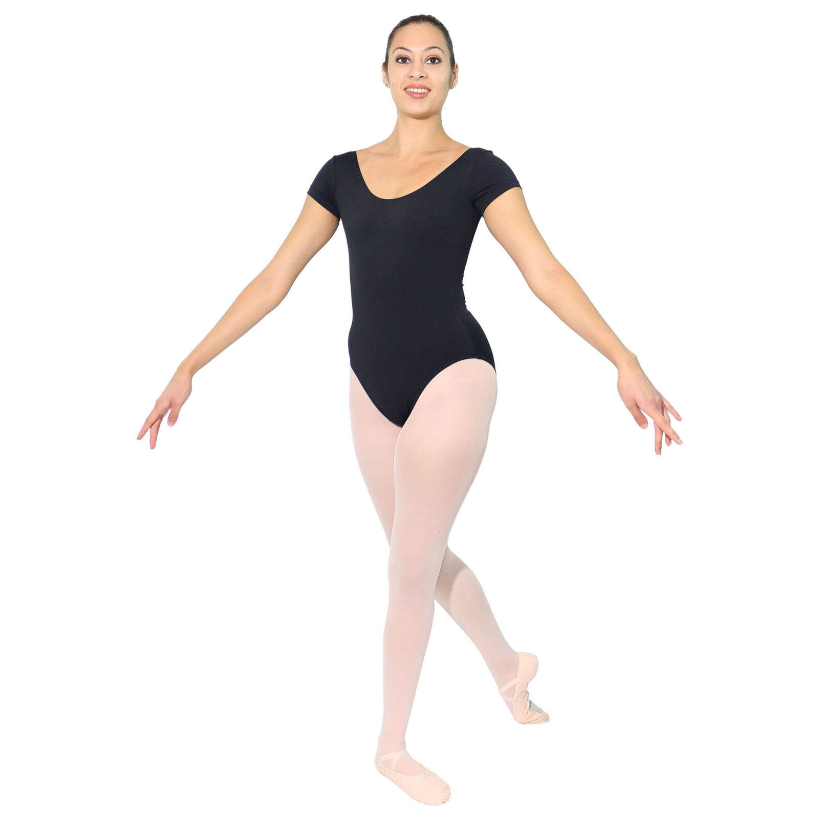 5c8c4f2ba8f Danzcue Adult Cotton Short Sleeve Ballet Cut Leotard Medium Black