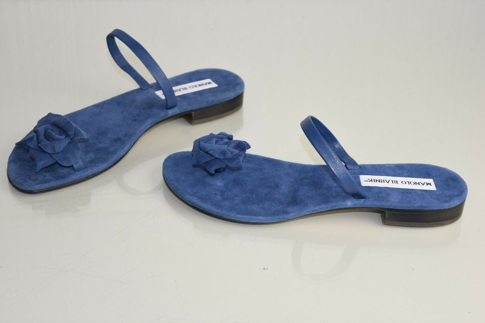Neuf Manolo Blahnik Camellia Indigo Sandales Bleu Marine Glissière Glissière Glissière Tongs 557241
