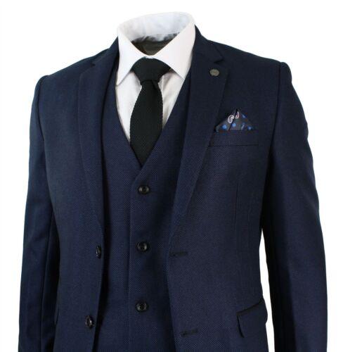 Tailored Party Formal Designer Smart Mens Piece Black Blue Suit Fit 3 Wedding HPwZdwq4
