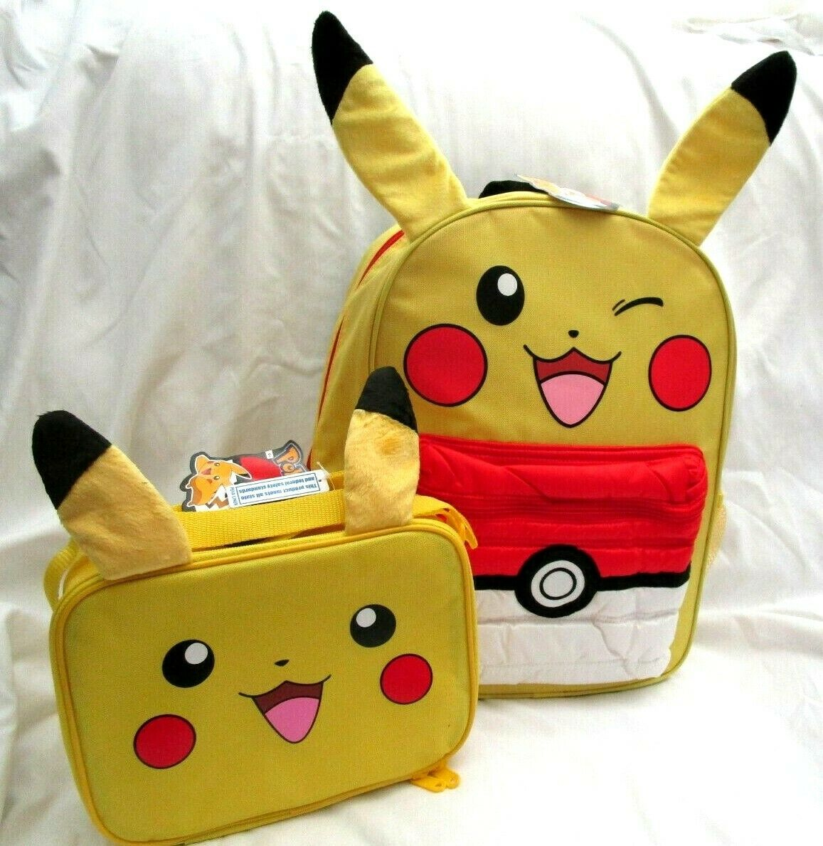 Pikachu Ears with Pouch 16  Backpack + 9.5  Pikachu with Ears Lunch box-New