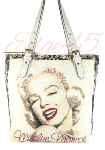 Embroidered Canvas Shopper Tote Celebrity Marilyn Monroe The Beatles Elvis MJ