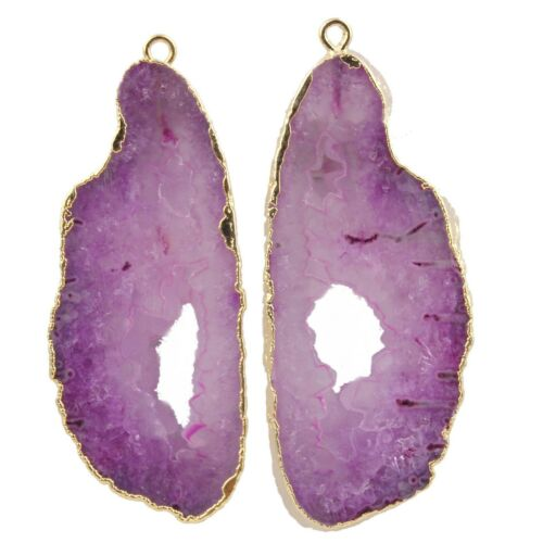 Pink Purple Natural Geode Slice Drusy Quartz Gold Plated DIY Earring Connector