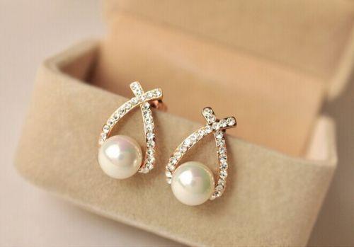New Style Women Fashion Elegant Crystal Rhinestone Studs Earrings FC-A2149