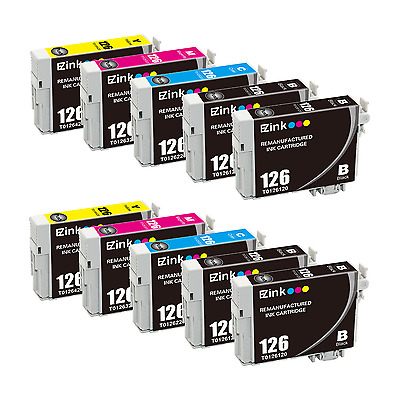 10P Black & Color for 126 T126 fit Epson Stylus NX330 NX430 & More w/ Ink Level