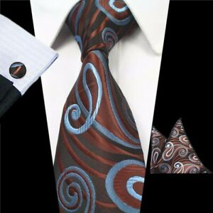 Cravate-Boutons-de-Manchette-Poche-Carre-Mouchoir-Set-Brown-Blue-Swirl-Handmade-100-soie