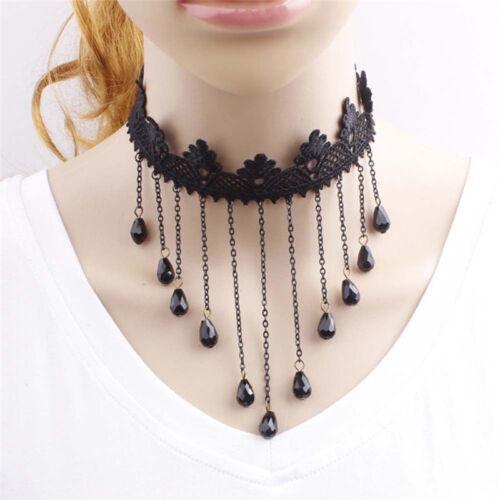 Fashion Goth Women/'s Crystal Black Lace Chain Pendant Choker Bib Necklace Party